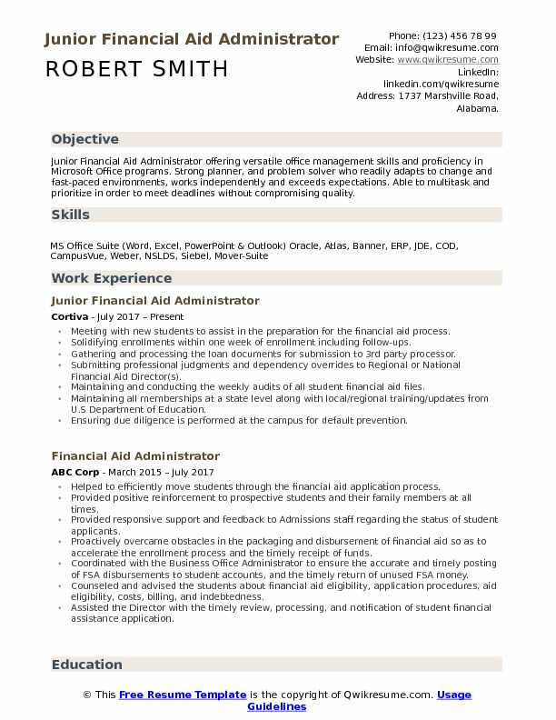 Junior Financial Aid Administrator Resume Example