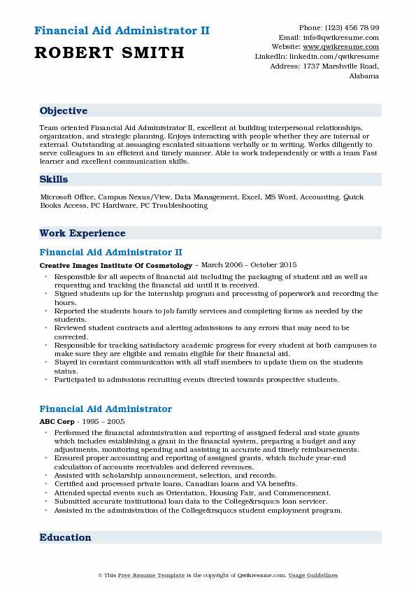 Financial Aid Administrator II Resume Template