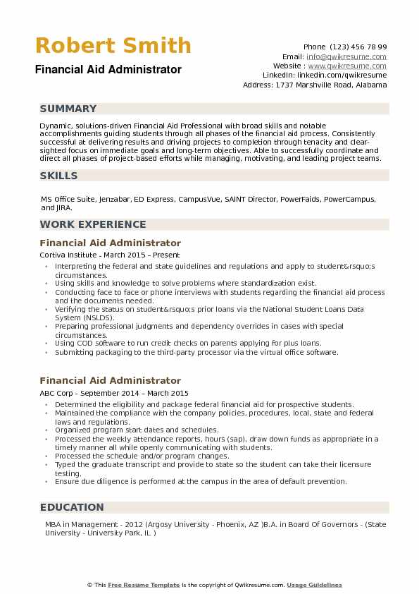 Financial Aid Administrator Resume example