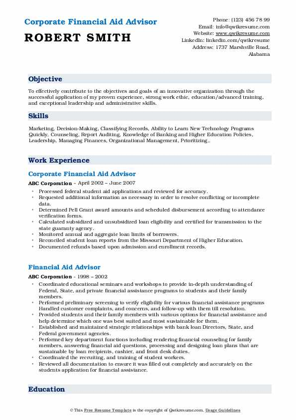 Corporate Financial Aid Advisor Resume Format