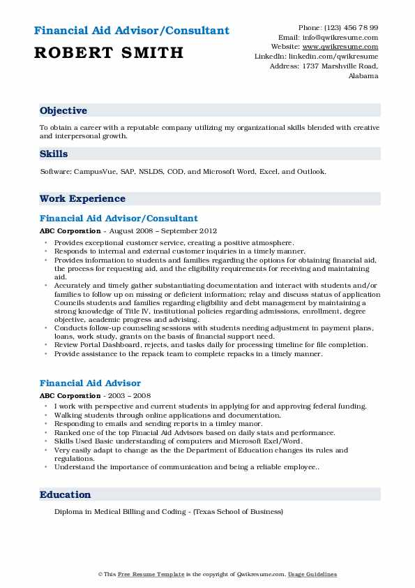 Financial Aid Advisor/Consultant Resume Template