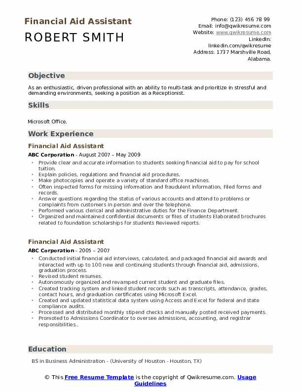 Financial Aid Assistant Resume Model