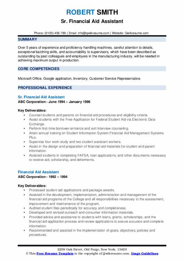 Sr. Financial Aid Assistant Resume Sample