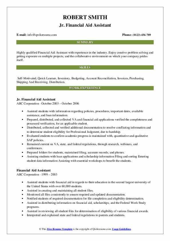 Jr. Financial Aid Assistant Resume Format