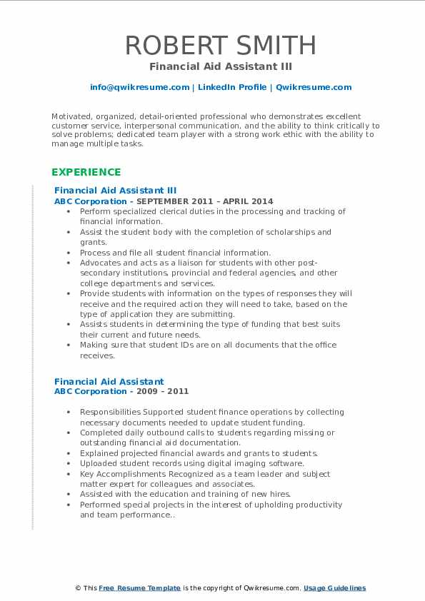 Financial Aid Assistant III Resume Template