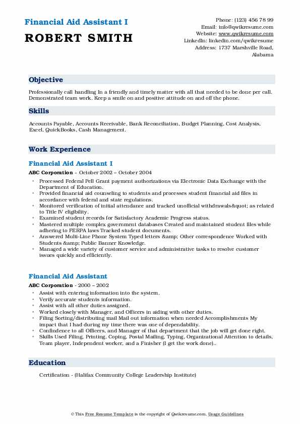 Financial Aid Assistant I Resume Format