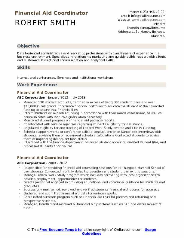 Financial Aid Coordinator Resume Template