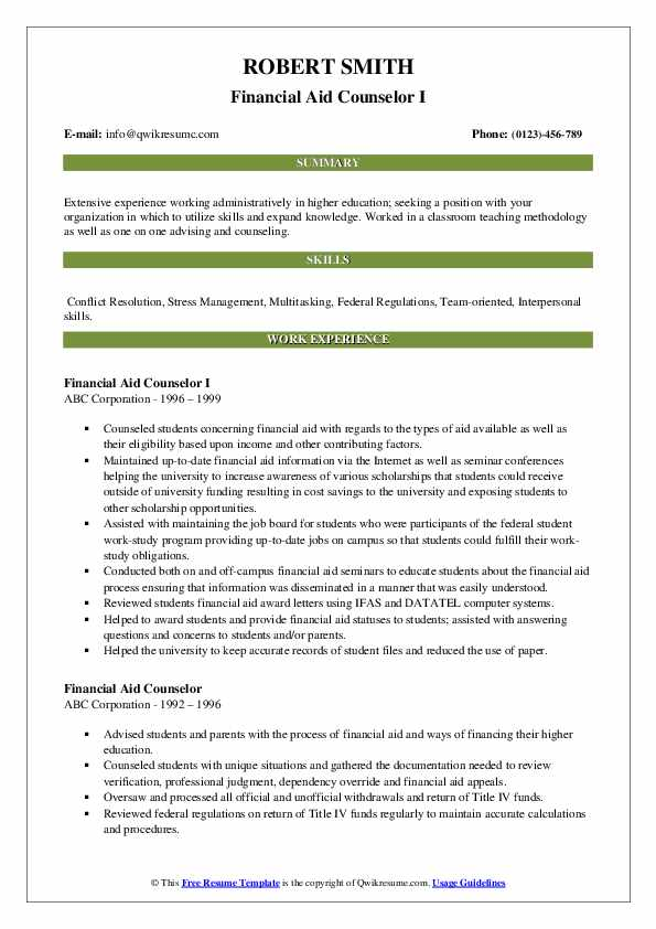 Financial Aid Counselor I Resume Format