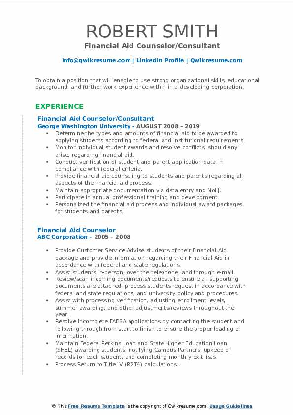 Financial Aid Counselor/Consultant Resume Sample