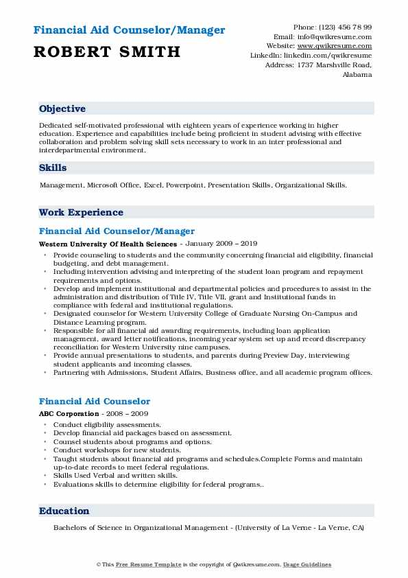 Financial Aid Counselor/Manager Resume Template