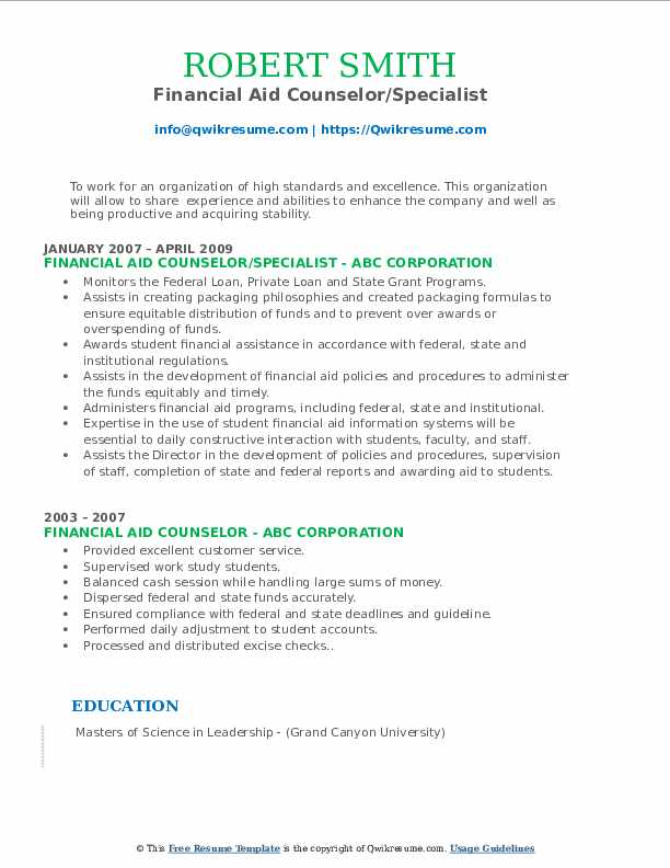 Financial Aid Counselor/Specialist Resume Template