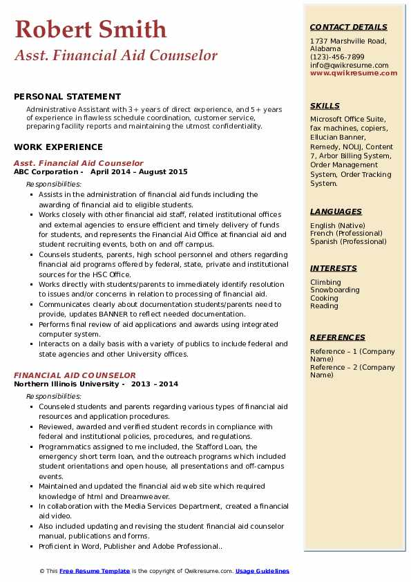 Asst. Financial Aid Counselor Resume Model