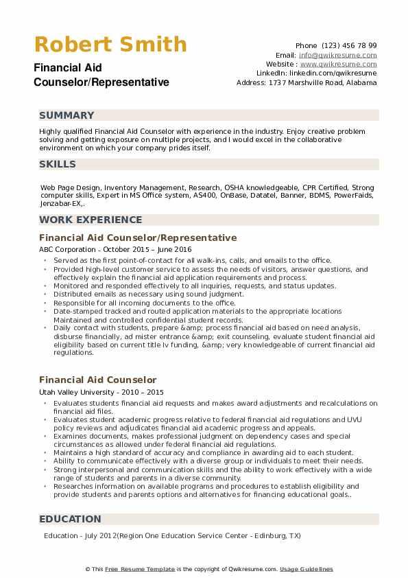 Financial Aid Counselor/Representative Resume Example