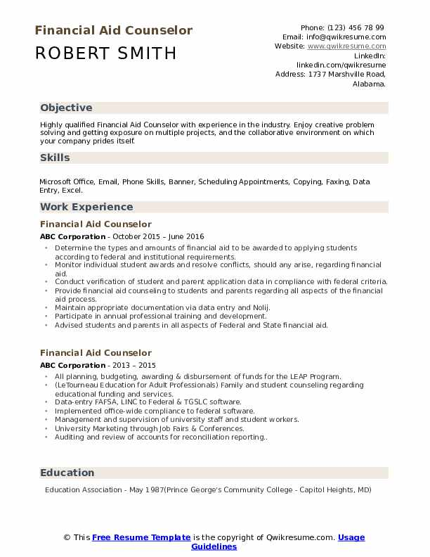 Financial Aid Counselor Resume example