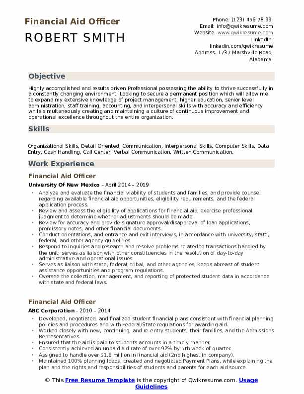 Financial Aid Officer Resume Format