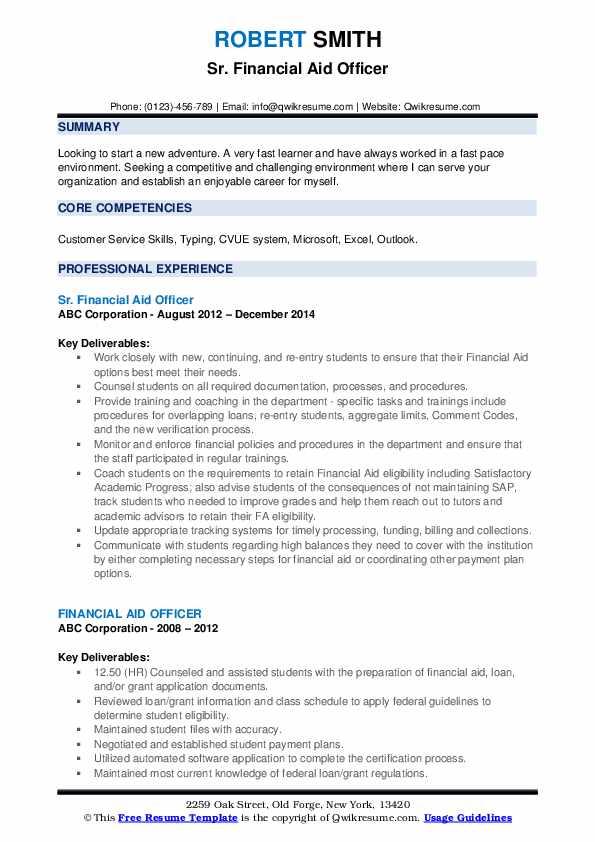 Sr. Financial Aid Officer Resume Model