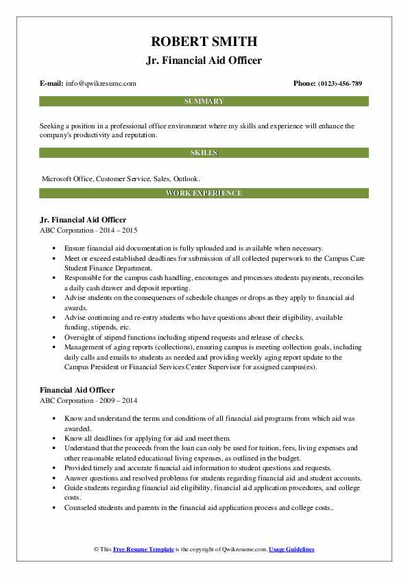 Jr. Financial Aid Officer Resume Model