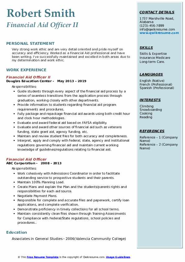 Financial Aid Officer II Resume Format