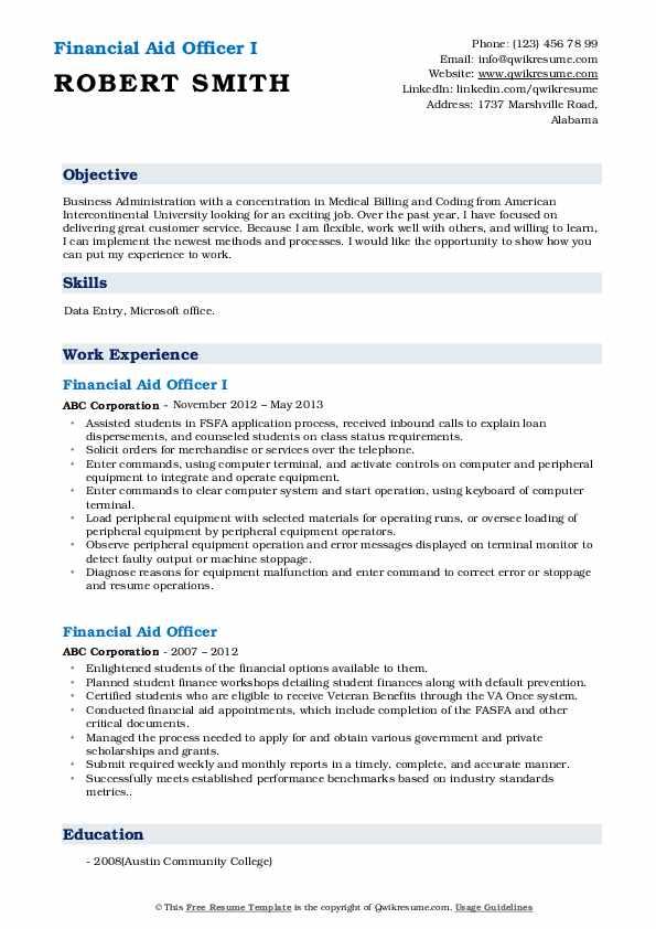 Financial Aid Officer I Resume Sample
