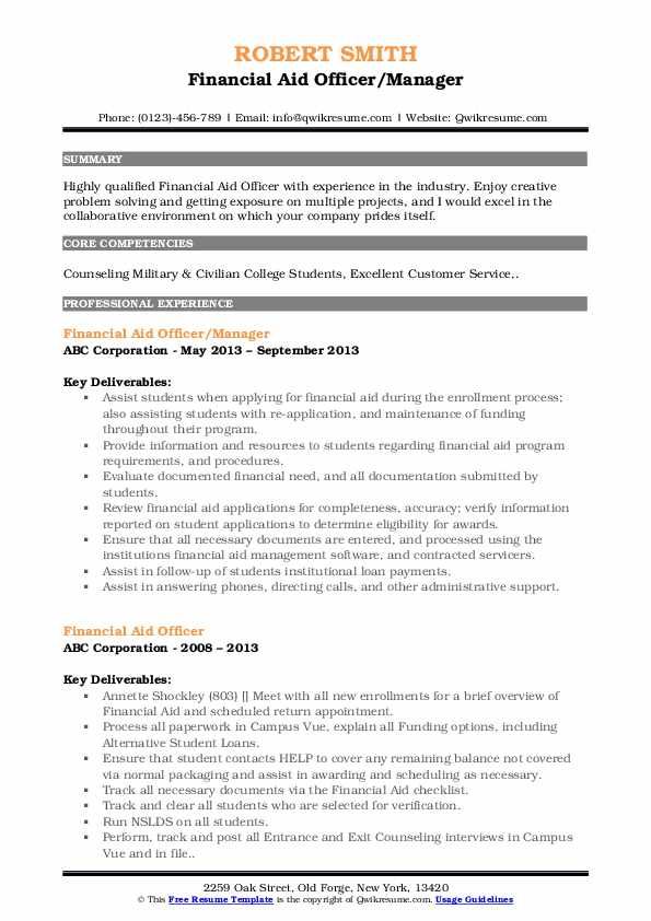 Financial Aid Officer/Manager Resume Template