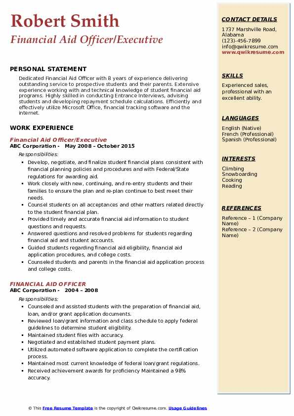 Financial Aid Officer/Executive Resume Format