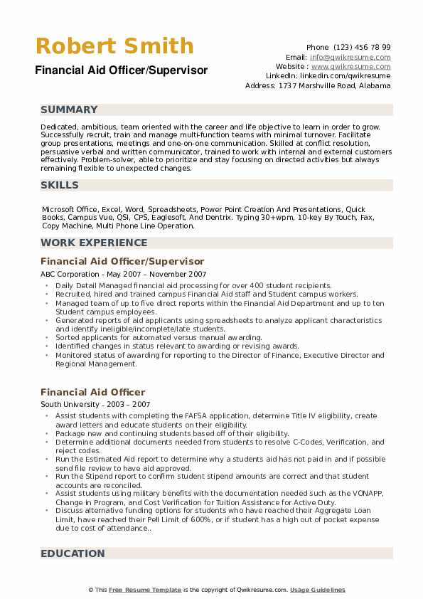 Financial Aid Officer/Supervisor Resume Example