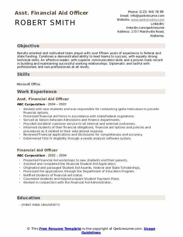 Asst. Financial Aid Officer Resume Template