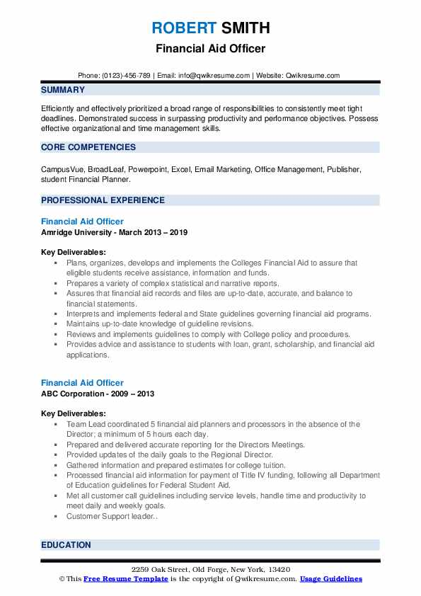 Financial Aid Officer Resume example