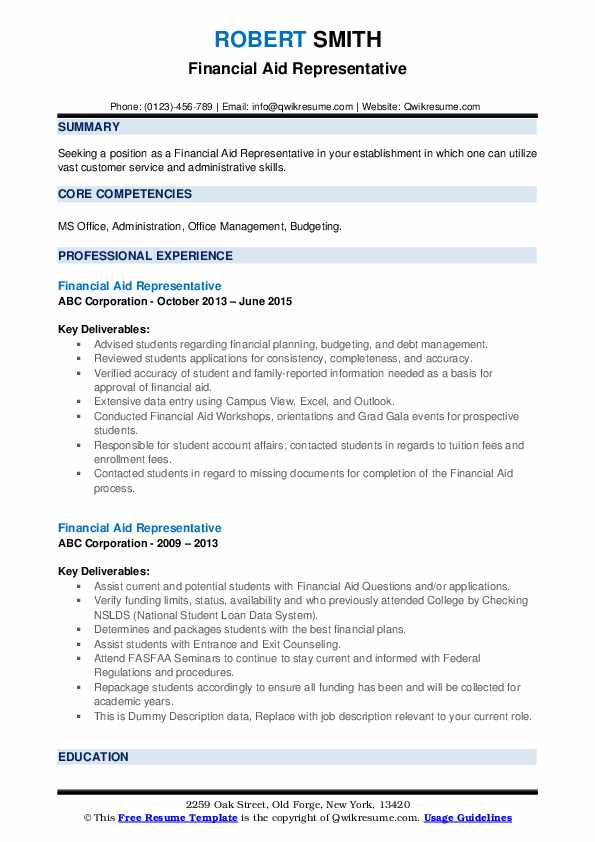 Financial Aid Representative Resume example