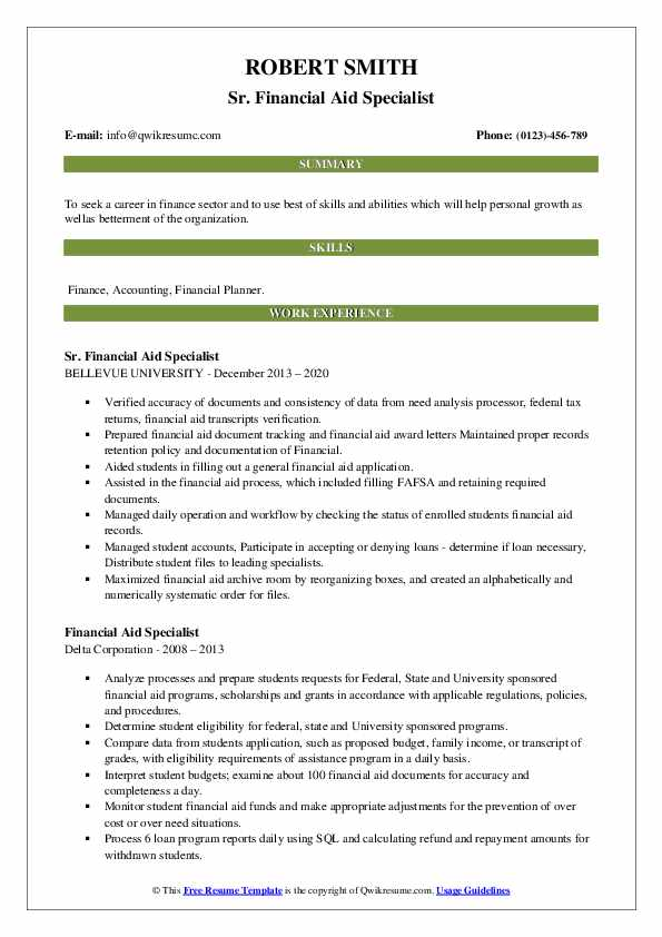 Financial Aid Specialist Resume Samples Qwikresume