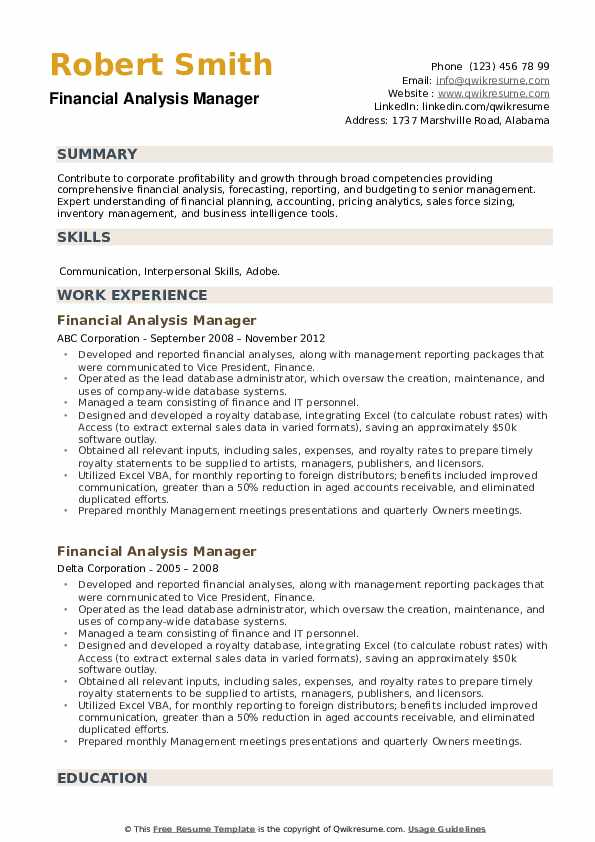 Financial Analysis Manager Resume example