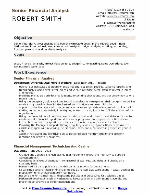 Senior Financial Analyst Resume Template