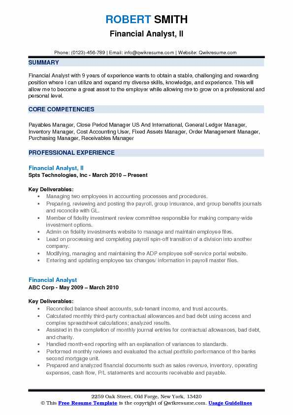 Financial Analyst, II Resume Format