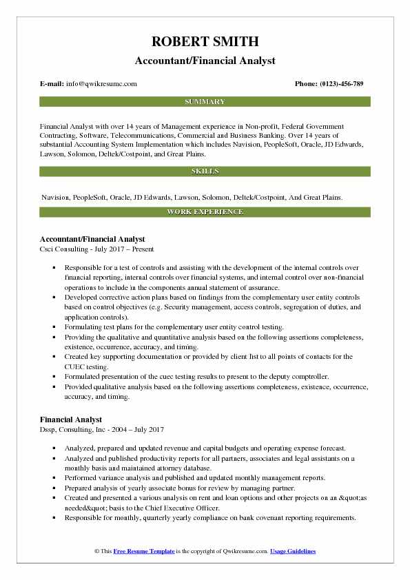 Accountant/Financial Analyst Resume Model