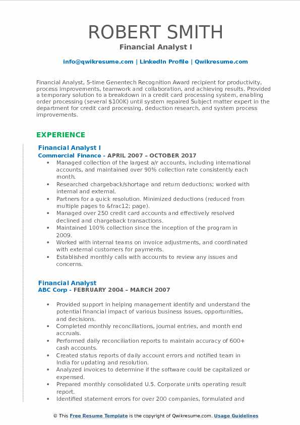 Financial Analyst I Resume Template