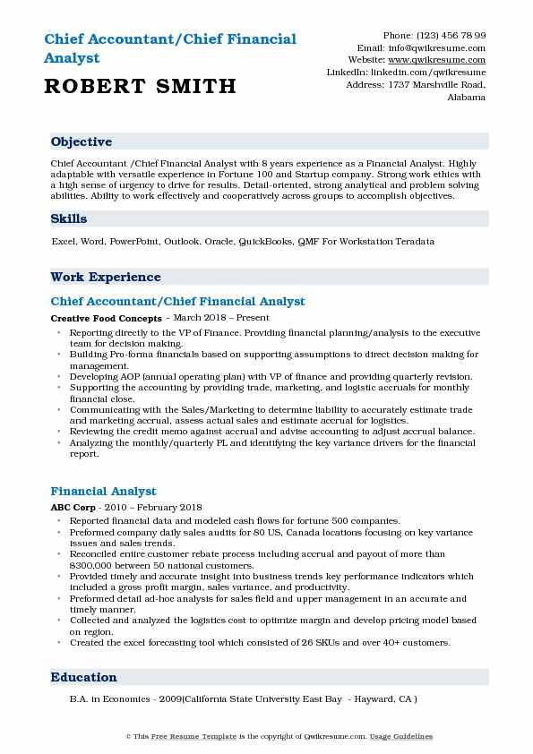 Chief Accountant/Chief Financial Analyst Resume Sample