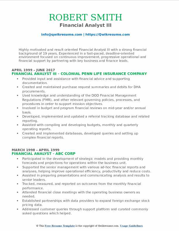Financial Analyst III Resume Template