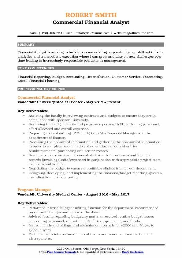 Commercial Financial Analyst Resume Model