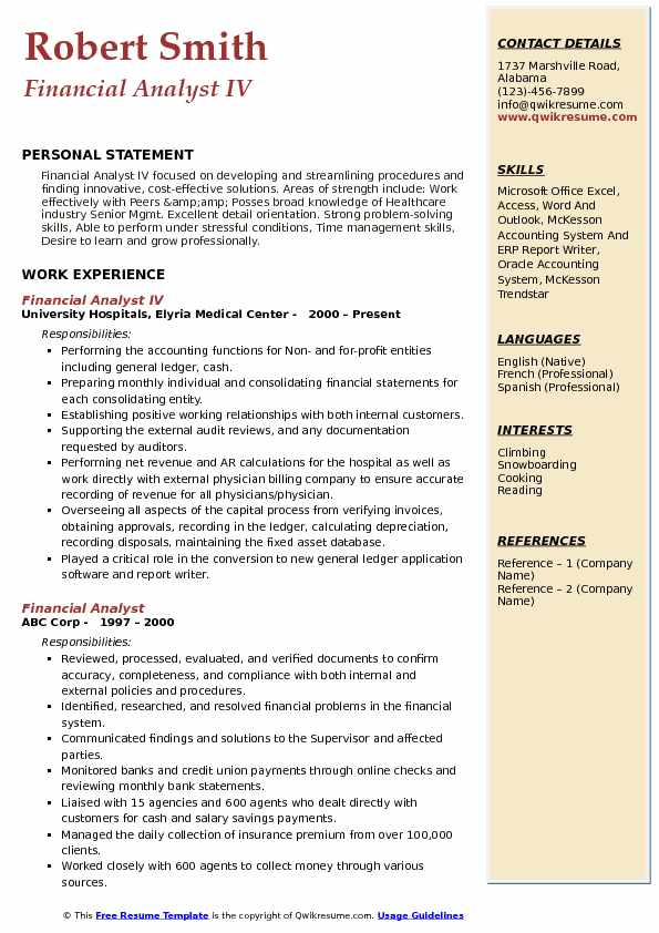 Financial Analyst IV Resume Example