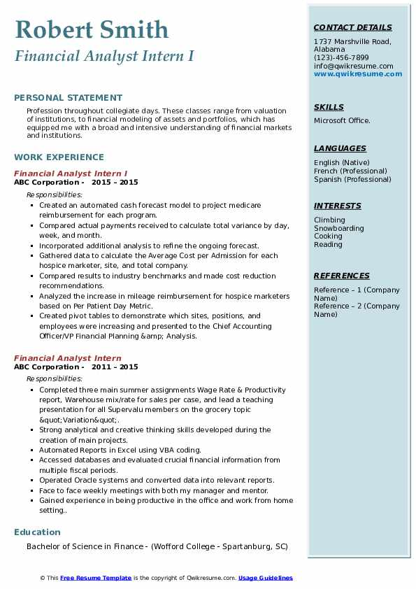 Financial Analyst Intern I Resume Example