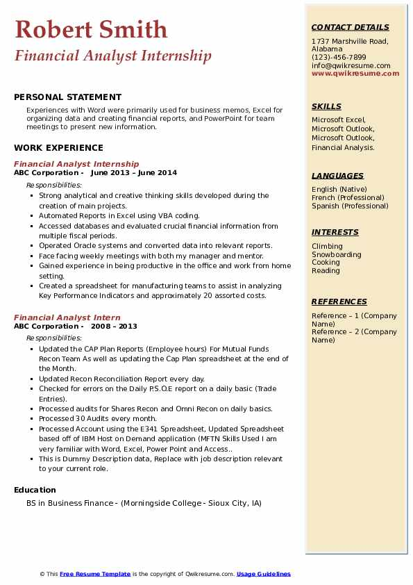 Financial Analyst Internship Resume Example