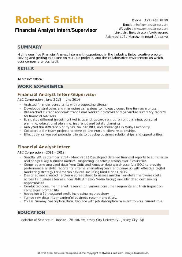 Financial Analyst Intern/Supervisor Resume Sample
