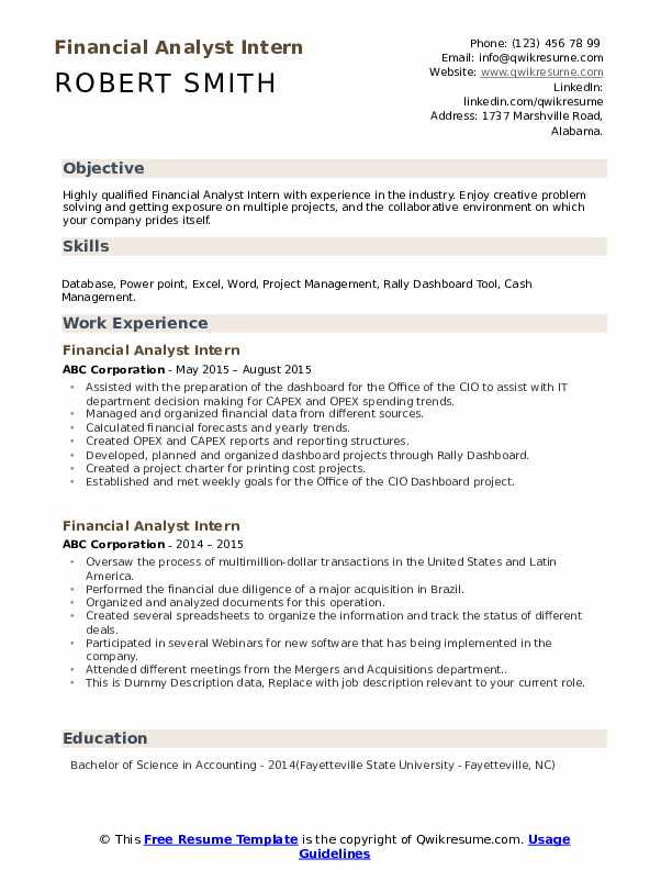 Financial Analyst Intern Resume example