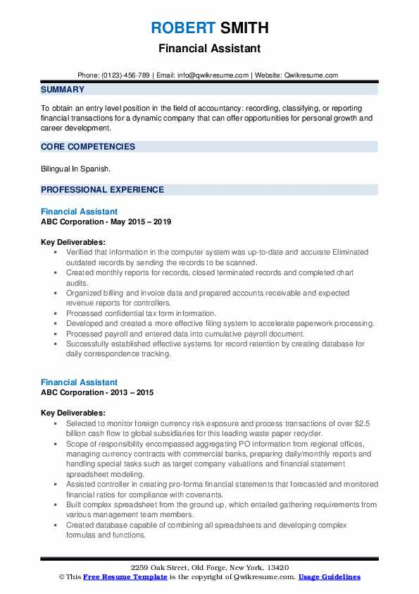 Financial Assistant Resume example
