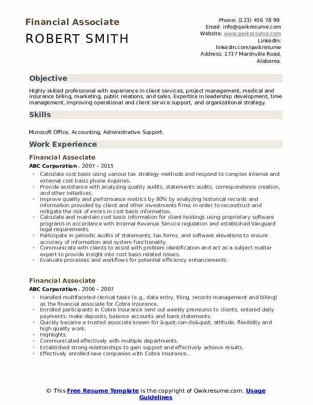 Financial Associate Resume Model