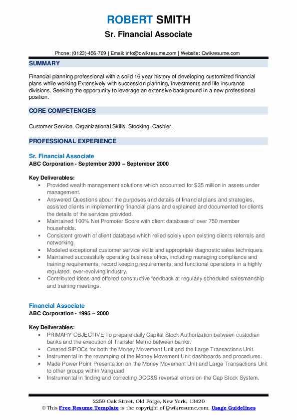 Sr. Financial Associate Resume Model