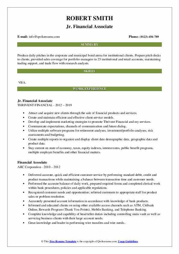 Jr. Financial Associate Resume Sample