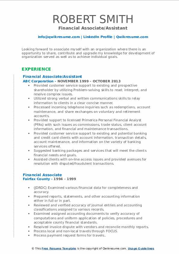 Financial Associate/Assistant Resume Model