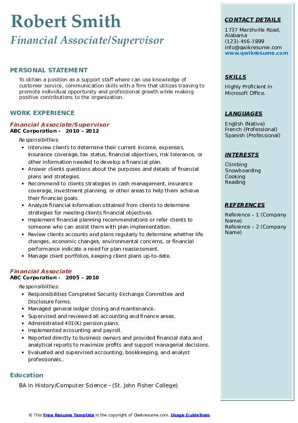 Financial Associate/Supervisor Resume Format