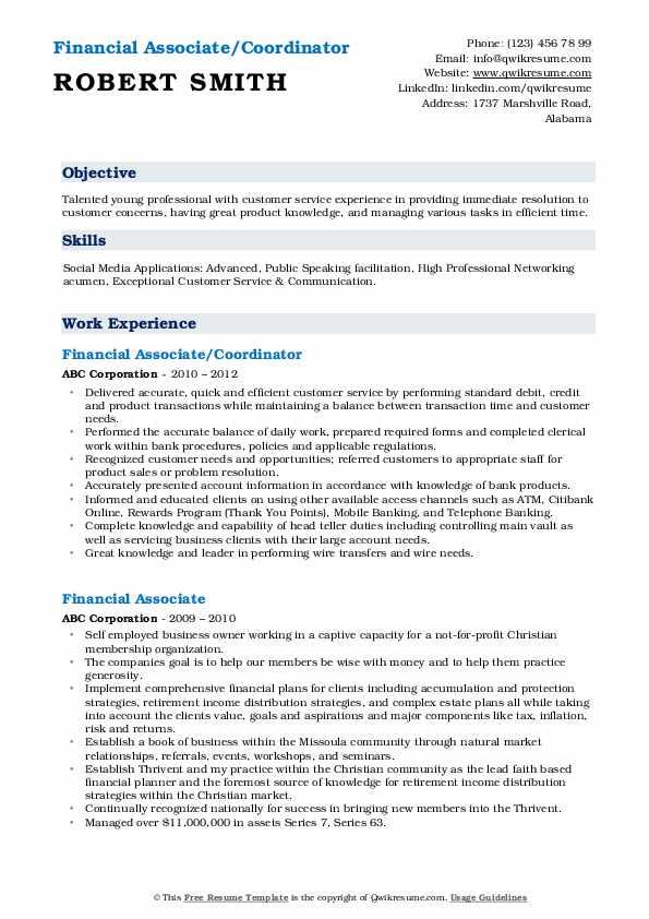 Financial Associate/Coordinator Resume Format
